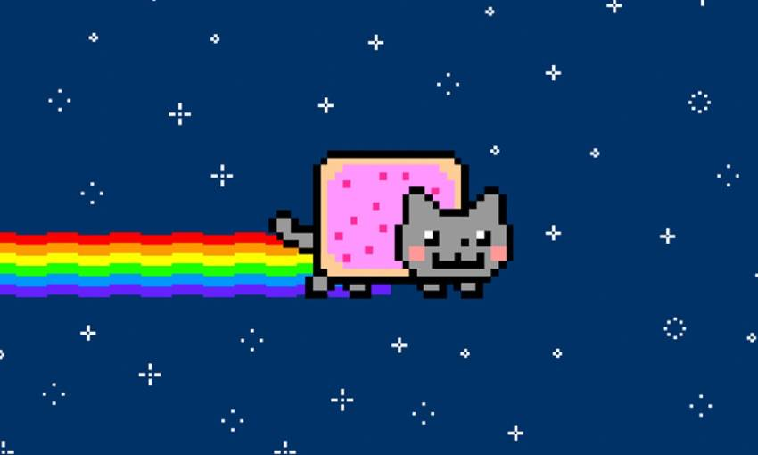 cat with a pop tart for a body and a rainbow for a fart