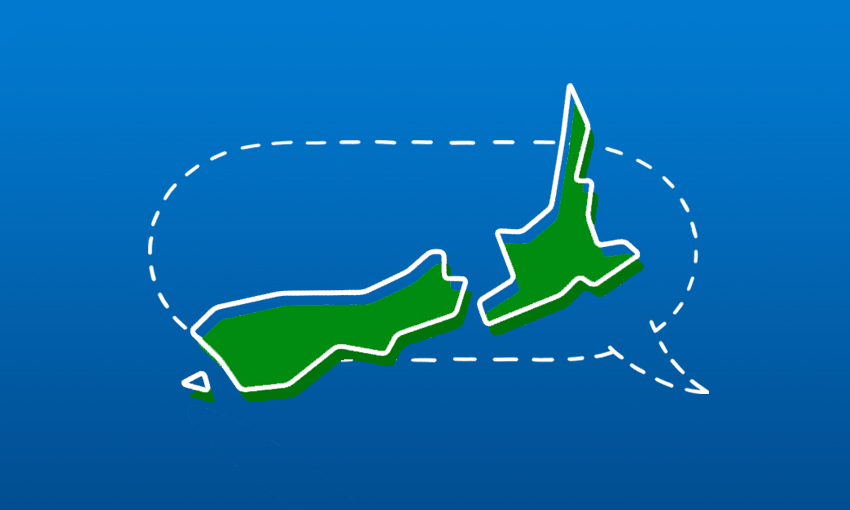 an illustrated and stylised map of aotearoa new zealand, overlaid on a dotted-line speech bubble on a solid blue background