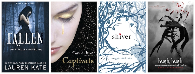 Four book covers: Fallen, Shiver, Captivate and Hush, Hush