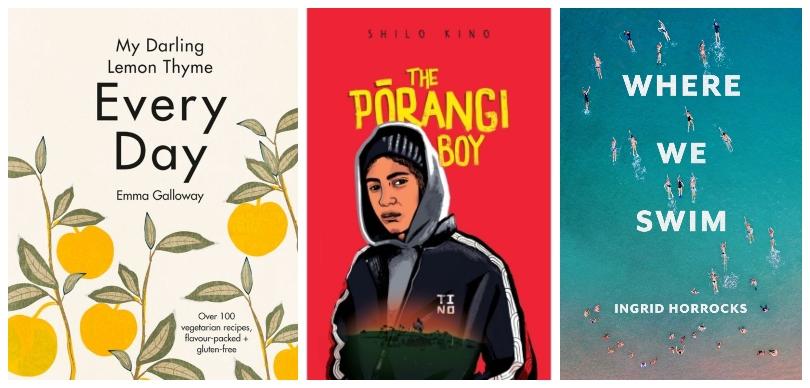 Three book covers: Every Day, The Pōrangi Boy, Where We Swim