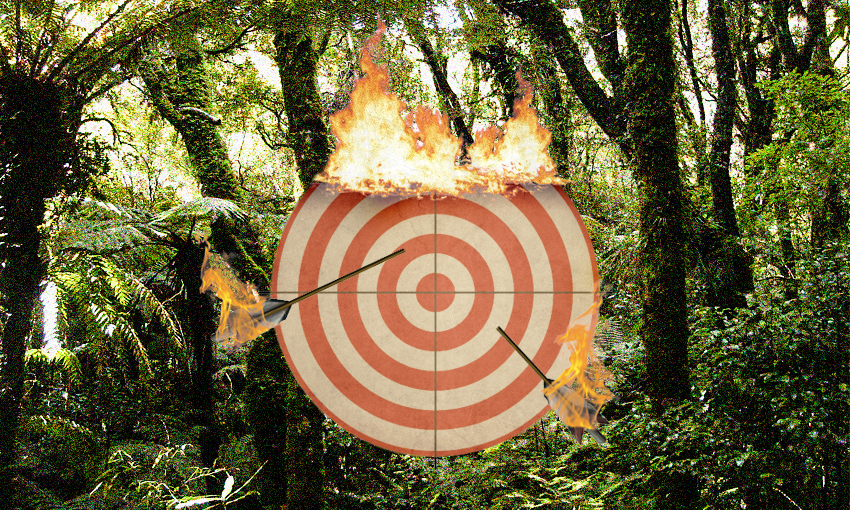 a target on fire against native forest