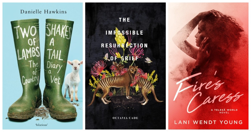 Three book covers: Two Shakes of a Lamb's Tail, The Impossible Resurrection of Grief, Fire's Caress