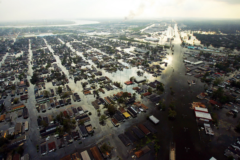 Aerial shot of a flooded city