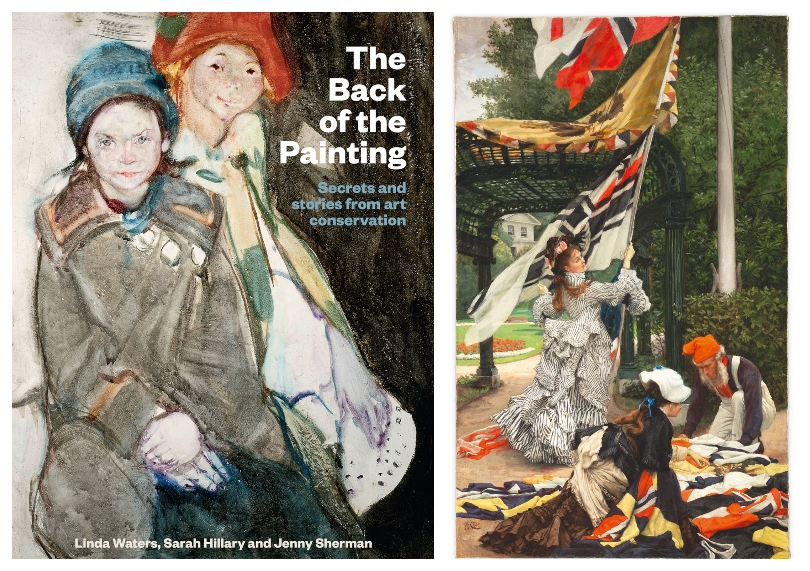 Cover of the book The Back of the Painting, and an image of the painting Still on top, featuring a woman waving a flag