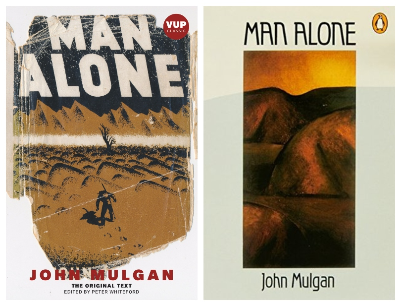 Two book covers of the novel Man Alone, by John Mulgan