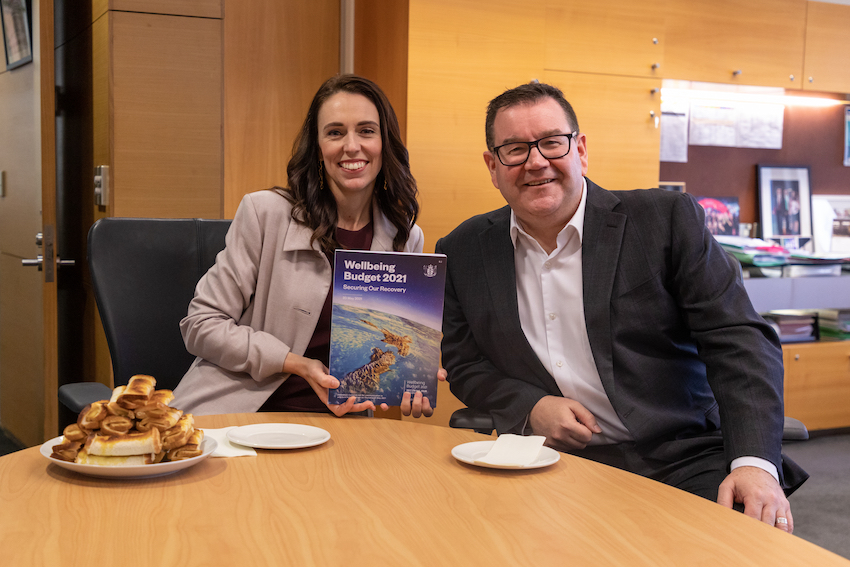 Robertson, Ardern and a pile of cheese rolls