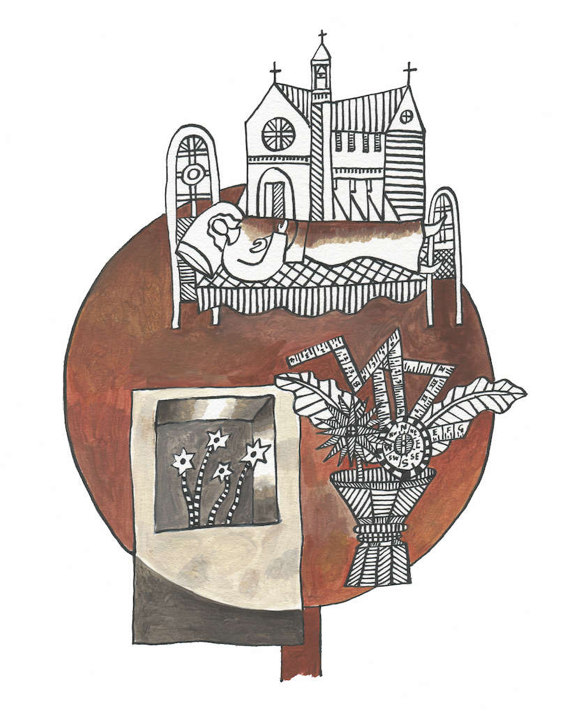 An illustration with small images, including a church and a woman sleeping peacefully, sketched over a muted brown circle.