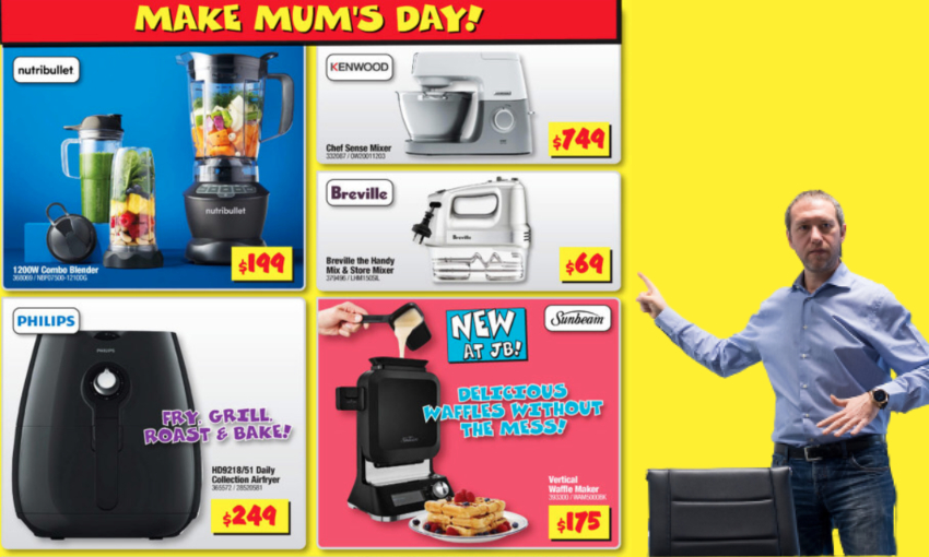 A leaked transcript from the JB Hi-Fi Mother's Day catalogue planning meeting
