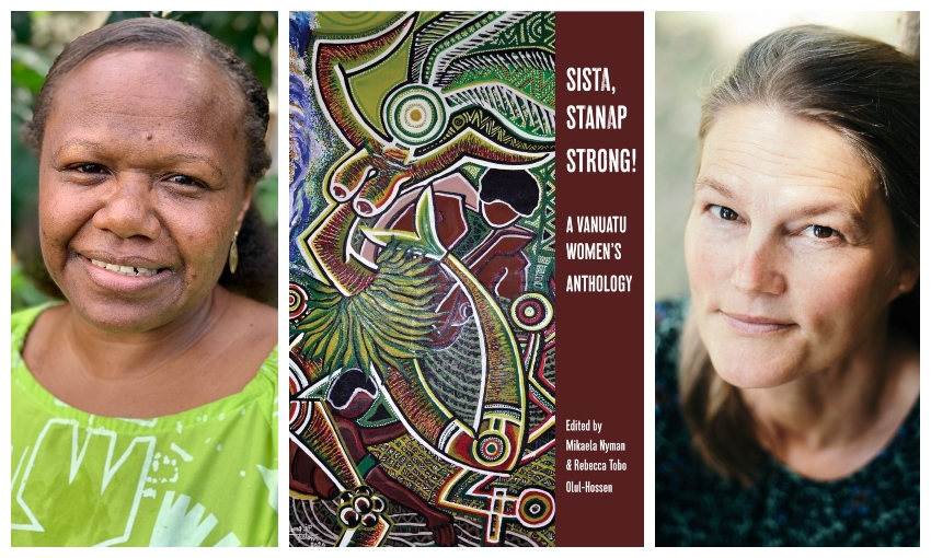 Photographs of two women, flanking a book cover.