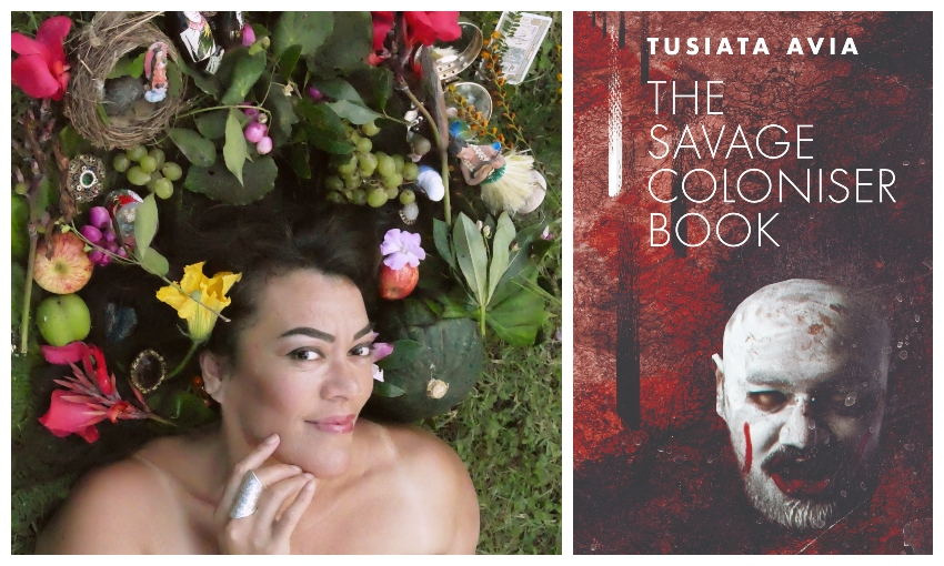 Tusiata Avia photographed from above, head and shoulders showing, surrounded by fruit and flowers, smiling. Also her book The Savage Coloniser.