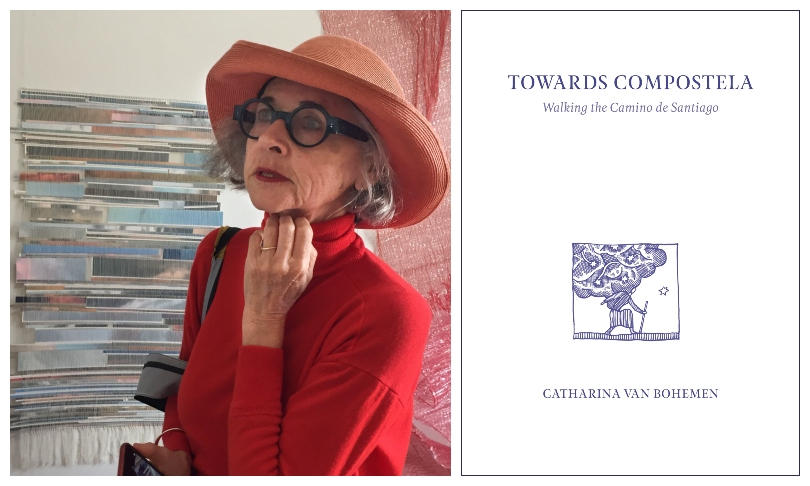 An older woman, wearing red and fabulous specs, stands in front of a tapestry; the book cover for Towards Compostela