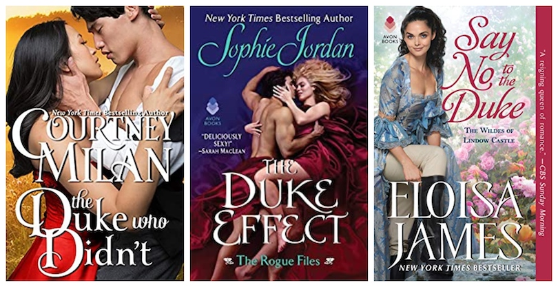 Covers of three Regency romance novels, all featuring dukes.