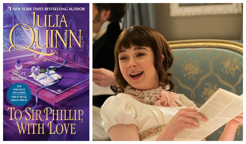 Cover of a romance novel; Eloise Bridgerton from the Netflix series, shown reading and laughing.