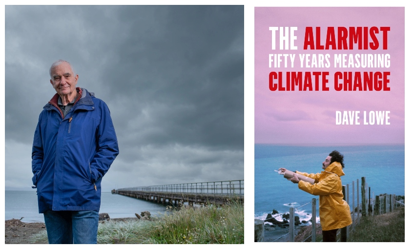 An older man in a rain jacket photographed against a bleak cloudy sky, at the coast; a beautiful book cover showing him as a younger man, taking atmosphere samples, leaning into the wind.