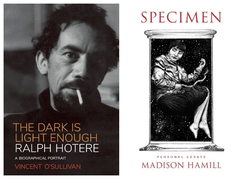 Ralph Hotere stares out from the cover of his biography, The Dark is Light Enough. And Madison Hamill's essay collection Specimen features a girl suspended in a specimen jar.