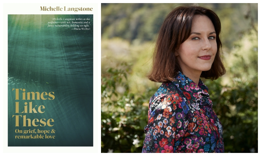 Book cover of Times Like These, and head and shoulder portrait of Michelle Langstone in a beautiful floral shirt.
