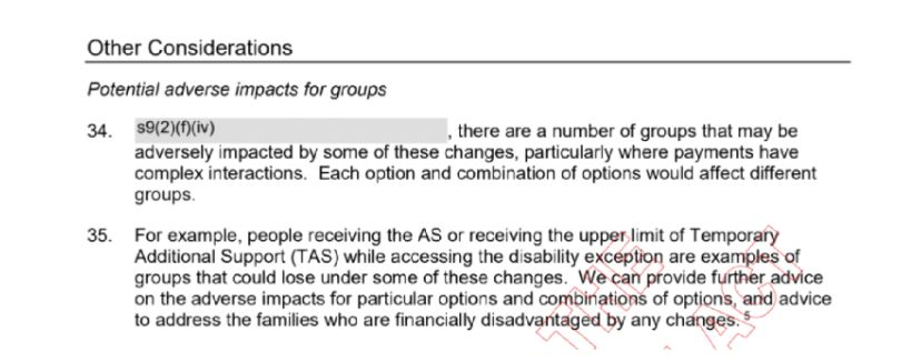 """The text contains a headline reading 'Other Considerations' and a subheading, 'Potential adverse impacts for groups'. It then reads: """"there are a number of groups that may be adversely impacted by some of these changes, particularly where payments have complex interactions. Each option and combination of options would affect different groups. For example, people receiving the AS or receiving the upper limit of Temporary Additional Support (TAS) while accessing the disability exception are examples of groups that could lose under some of these changes. We can provide further advice on the adverse impacts for particular options and combinations of options, and advice to address the families who are financially disadvantaged by any changes."""