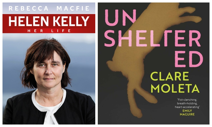Covers of two books, one showing a head and shoulders portrait of Helen Kelly, the other an illustration of a dead rabbit.