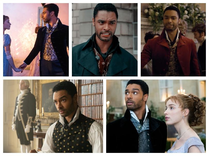 Five Bridgerton stills, each showing Simon wearing a different waistcoat.