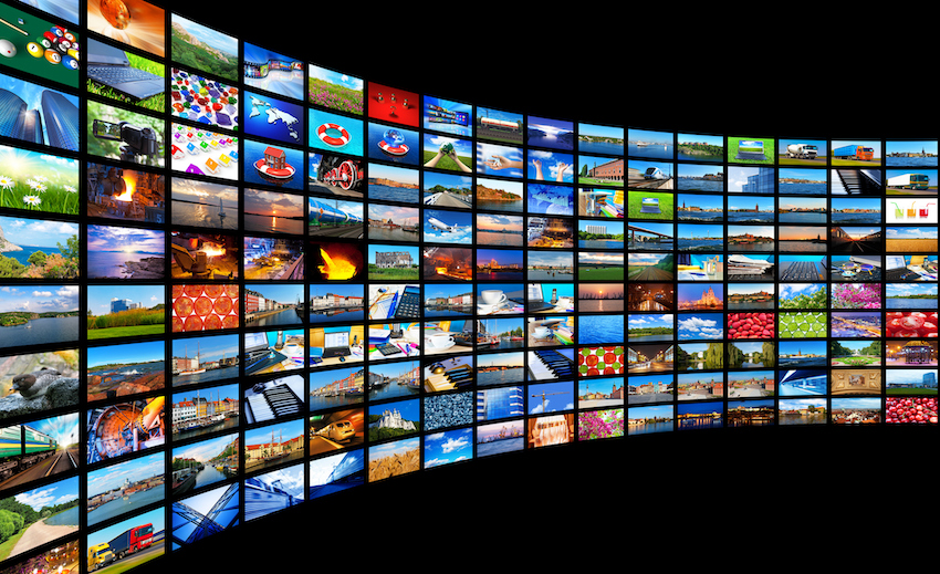 A wall of TV screens