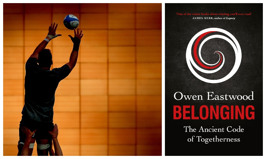Cover of book Belonging; a photograph of All Black Kieran Read being lifted by teammates to catch a ball