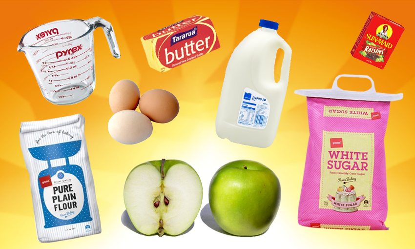 The orange Edmonds sunrise logo with pudding ingredients (eg eggs, apples, sugar, milk) superimposed