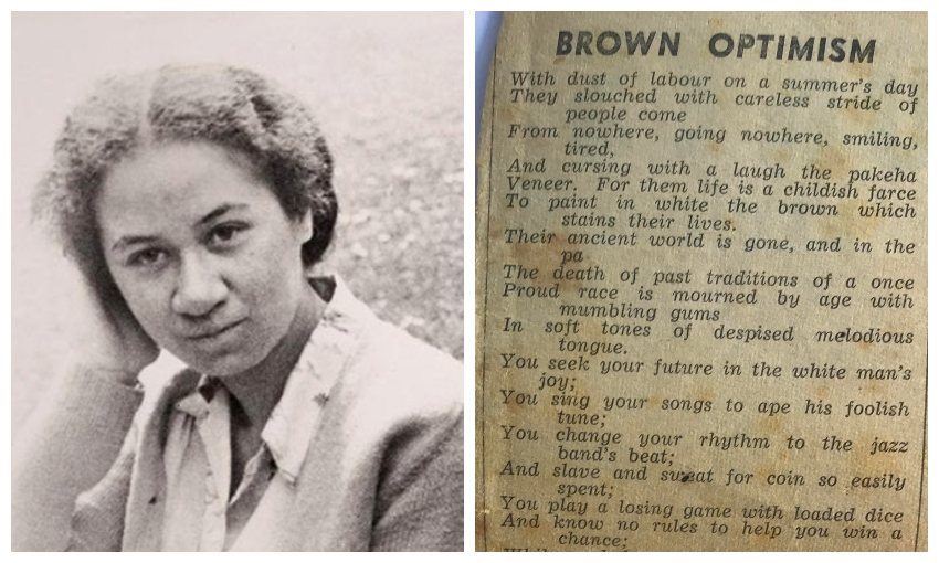 Beside a yellowed newsprint clipping of a poem, a black and white photograph of a young Māori woman, looking to camera.