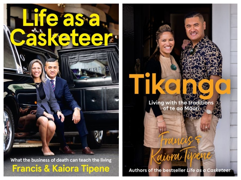 Two book covers, each featuring photos of authors Francis and Kaiora Tipene, smiling.