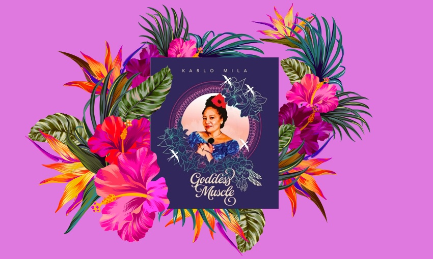 A book of poems, Goddess Muscle, wrapped in a design of hibiscus and palm leaves, on a fuschia background