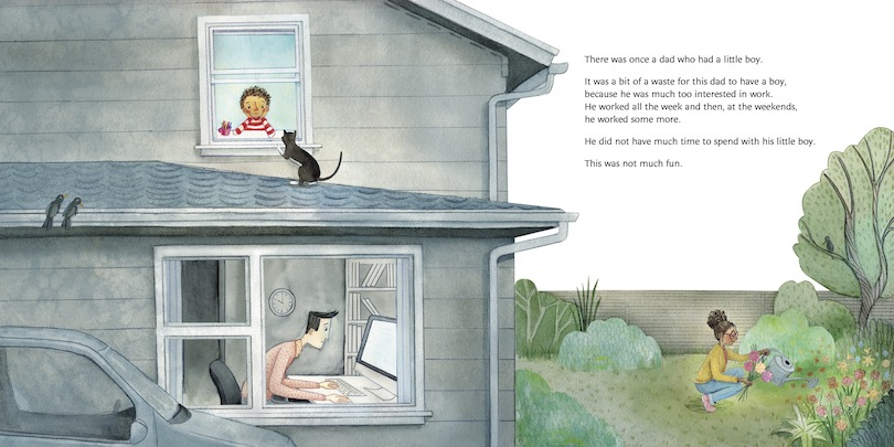 Spread from a picture book showing a man hard at work in his home office, a bored little boy, and a woman out in the garden