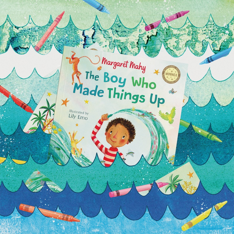 A picture book showing a boy surrounded by a whirling wave of sea creatures, set against a scene of illustrated waves