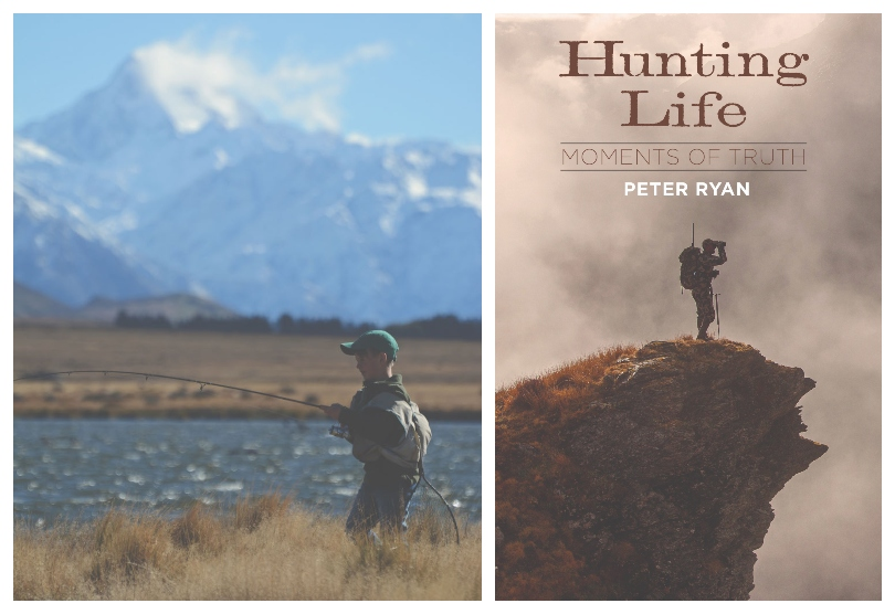 A photograph of a young boy fly-fishing in a river, surrounded by tussock and snowy mountains; a book cover with the title Hunting Life and an image of a man standing on an outcrop.