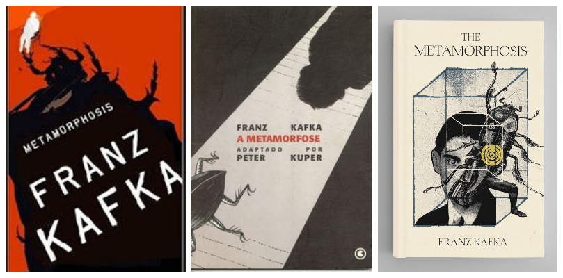 Three creepy-as covers for The Metamorphosis, all featuring bugs
