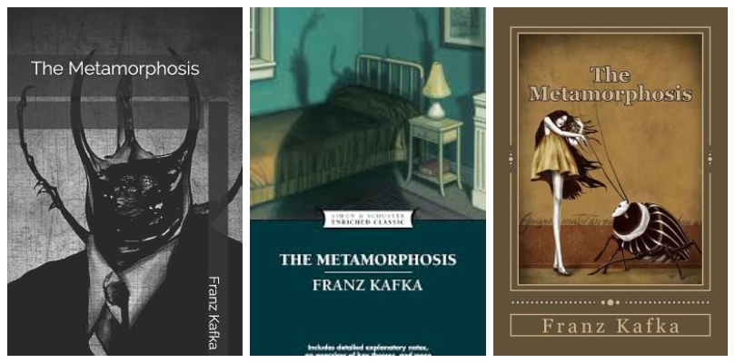 Three covers of The Metamorphosis, all featuring giant bugs
