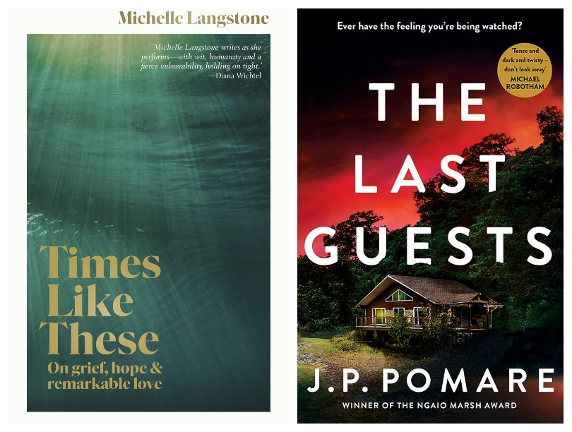 Two book covers; one a deep green underwater photograph, the other a house silhouetted against a red sunset.