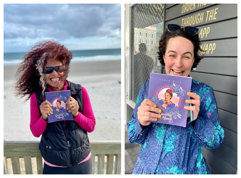 Two photographs, each showing a beaming woman holding a copy of poetry book Goddess Muscle
