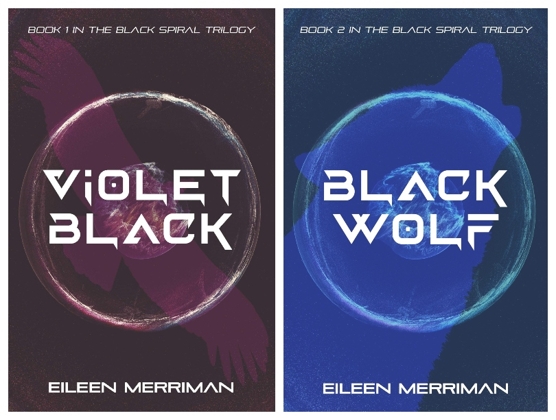 Two book covers, both quite dark with techy modernistic font over swirling shapes.