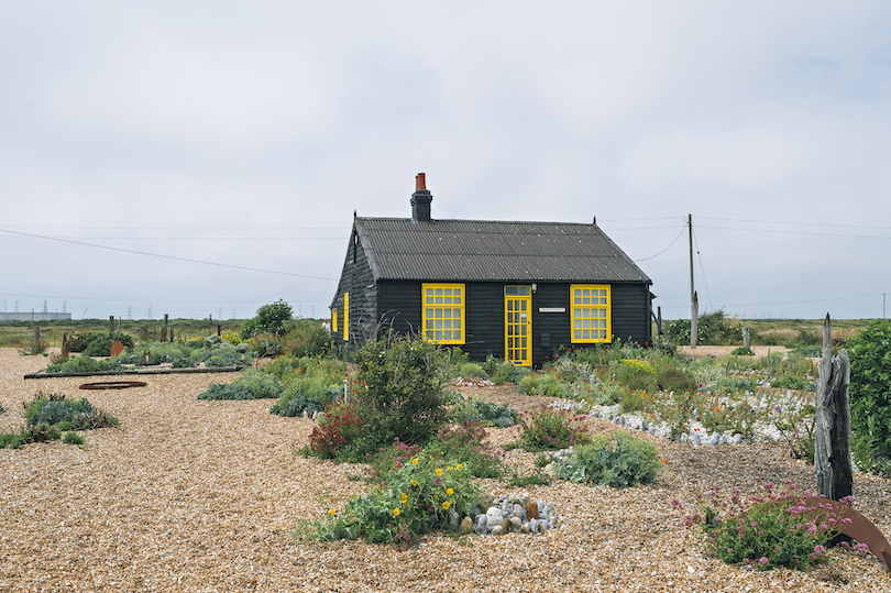 Striking black cottage with bright yellow trim. On a pebbled landscape, a garden of wildflowers.