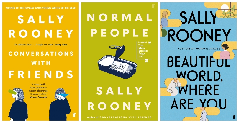 Covers of three novels by Sally Rooney, all featuring bright yellows, blues and greens, and illustrations of young people