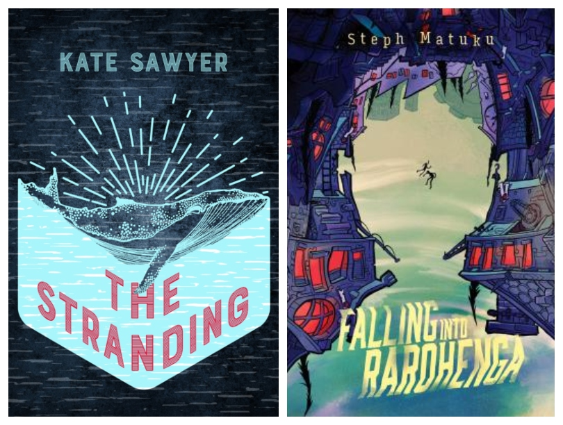 Two book covers, one an illustration of a whale with a radiant sunset behind it; the other an illustration of two figures falling down through a chasm of sky.