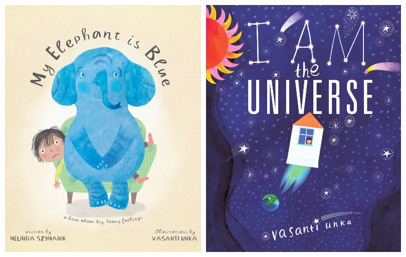 Two picture book covers, one showing an elephant sitting on a kid, the other a rocket blasting into space