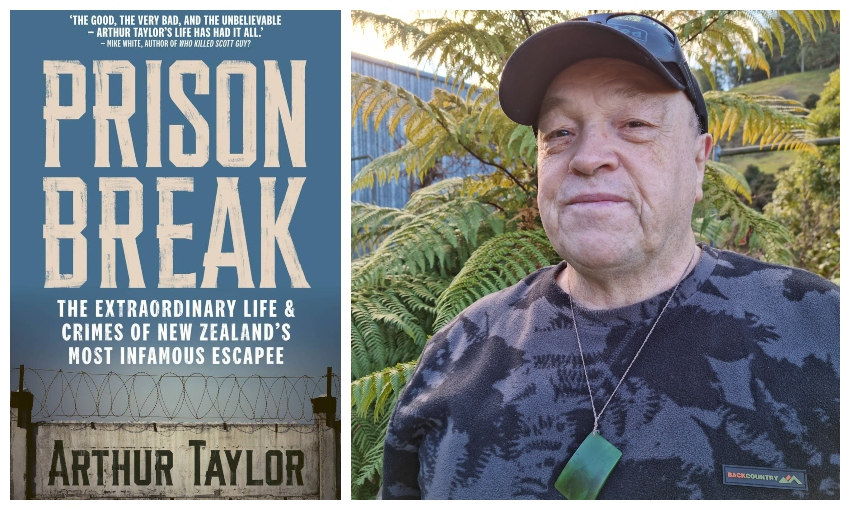 Cover of the book Prison Break, with a head and shoulders selfie of a middle-aged man wearing a camo t shirt and cap, and pounamu.