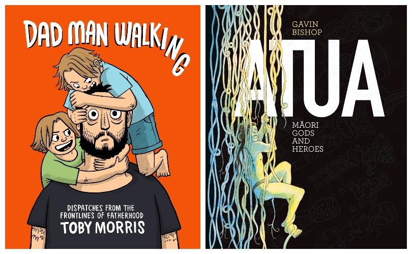 Bright orange comic cover of Dad Man Walking; beautiful black/ yellow/ blue cover of Atua