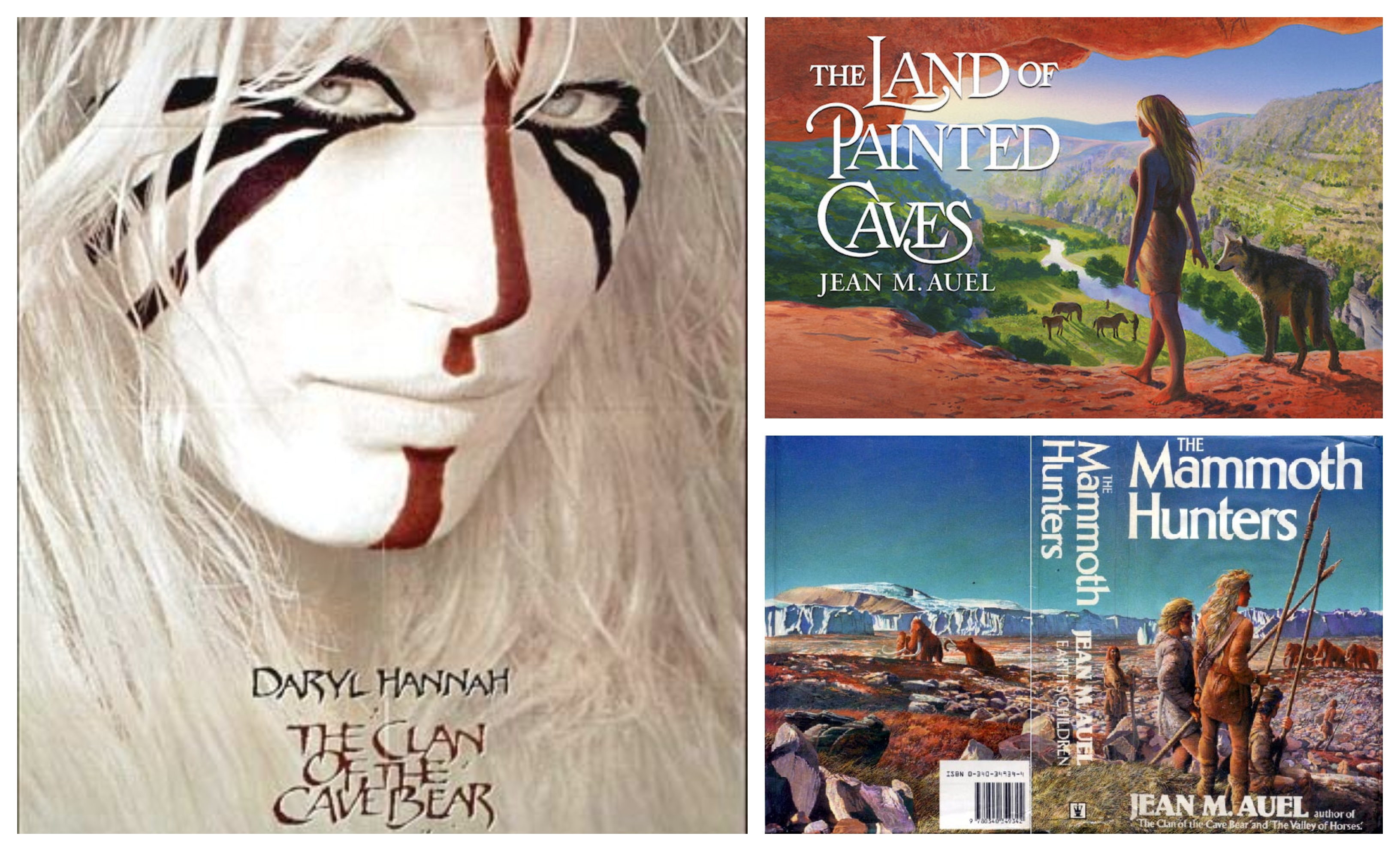A film poster showing Daryl Hannah painted all in white with primitive red and black facepaint; two book covers showing a buxom blonde woman on the prehistoric savannah