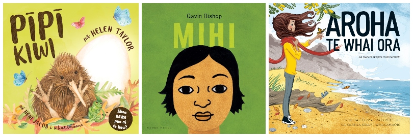 Covers of three picture books, all bright and breezy