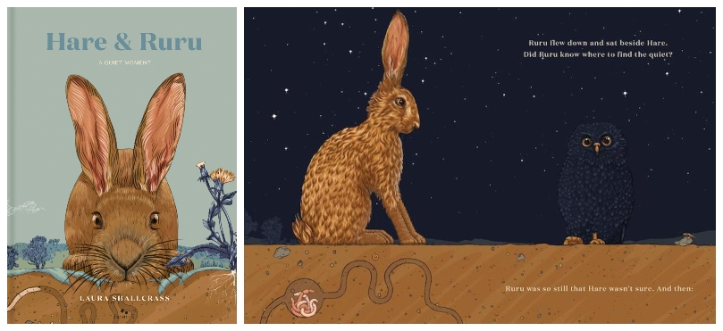 Cover of a picture book showing illustrated hare crouching among weeds; spread from the book, at night, a starry sky, the hare is meeting a ruru that is almost invisible against the sky.