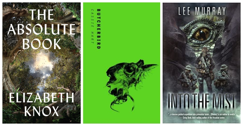 Three book covers, the middle one a stunning lurid green, the others dark