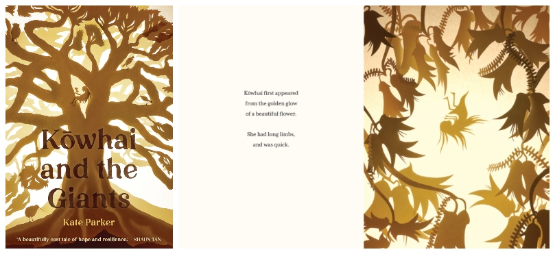 Cover and inside spread of a picture book, striking sepia tones, all papercut, showing a giant tree and a tiny girl among leaves
