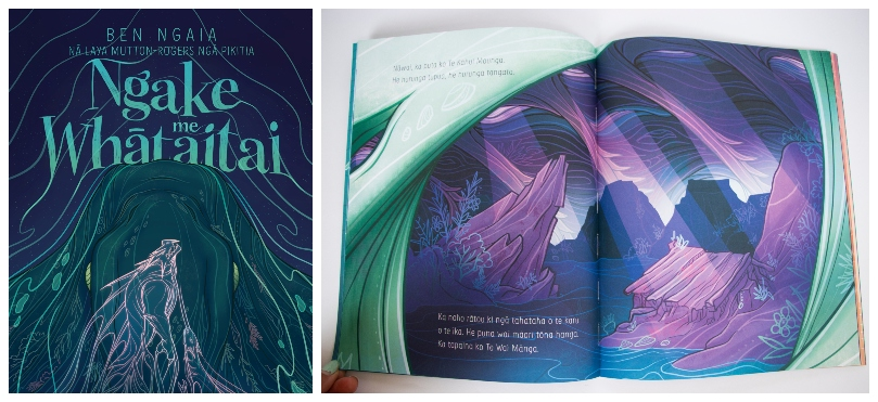 Cover and spread from a picture book. The language is te reo Māori, the colour palette is pāua, and art shows a rocky shore, big waves, a whare, and light beaming down from above.