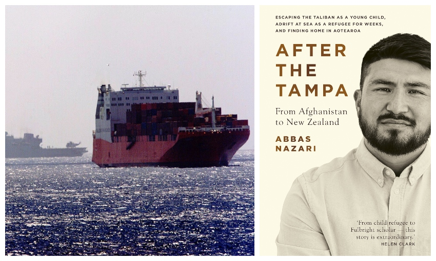 A photograph of a fishing boat, behind it a navy ship, glittering blue sea; a book cover featuring an Afghan man
